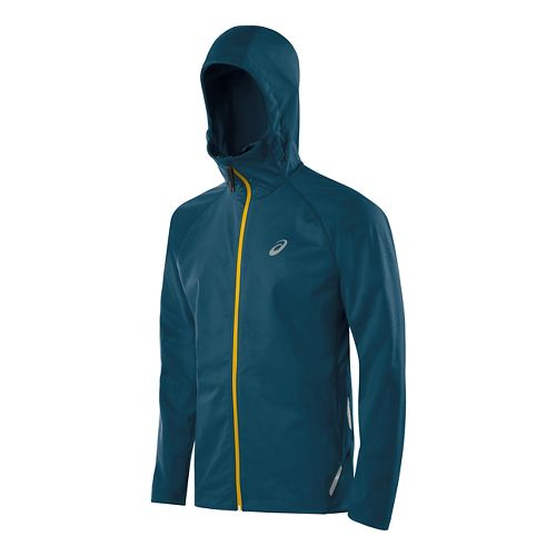 Mens ASICS Fuji trail Softshell Warm Up Hooded Jackets - Mosaic Blue L
