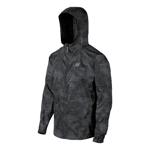 Mens ASICS Fuji trail Packable Warm Up Hooded Jackets - Dark Grey Map M