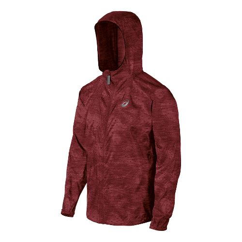 Mens ASICS Fuji trail Packable Warm Up Hooded Jackets - Deep Ruby Map XXL