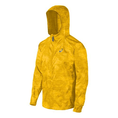 Mens ASICS Fuji trail Packable Warm Up Hooded Jackets - Spectra Yellow Map L
