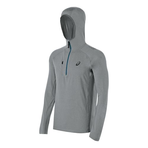 Mens ASICS FujiTrail 1/2 Zip Long Sleeve Hooded Technical Tops - Heather Grey XXL