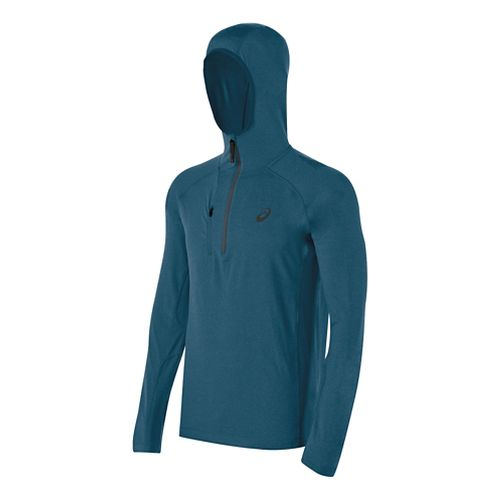 Mens ASICS FujiTrail 1/2 Zip Long Sleeve Hooded Technical Tops - Mosaic Blue Heather L ...