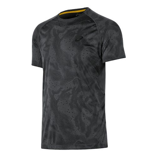 Mens ASICS Fuji trail Graphic Short Sleeve Technical Tops - Dark Grey Map XXL