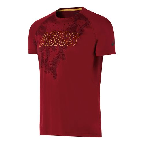 Mens ASICS Fuji trail Graphic Short Sleeve Technical Tops - Deep Ruby M