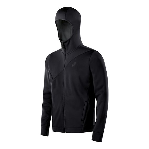Mens ASICS Training Warm Up Hooded Jackets - Performance Black M