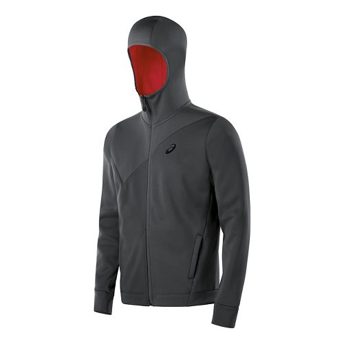 Mens ASICS Training Warm Up Hooded Jackets - Dark Grey XL