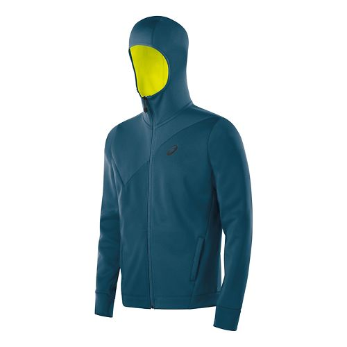 Mens ASICS Training Warm Up Hooded Jackets - Mosaic Blue XXL