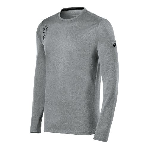 Mens ASICS Graphic Long Sleeve No Zip Technical Tops - Dark Heather Grey M