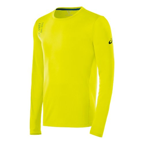 Mens ASICS Graphic Long Sleeve No Zip Technical Tops - Neon Lime M