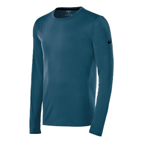 Mens ASICS Graphic Long Sleeve No Zip Technical Tops - Mosaic Blue L
