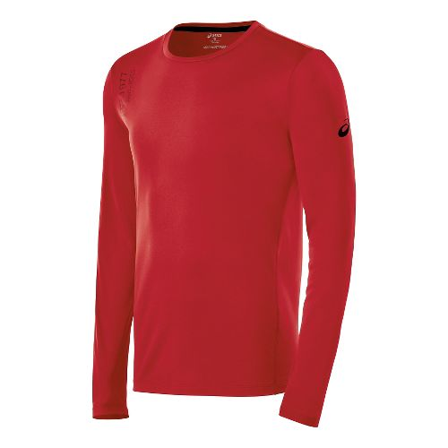 Mens ASICS Graphic Long Sleeve No Zip Technical Tops - True Red M