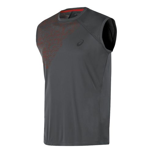 Mens ASICS Sleeveless Technical Tops - Dark Grey XL