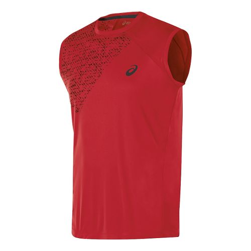 Mens ASICS Sleeveless Technical Tops - True Red L