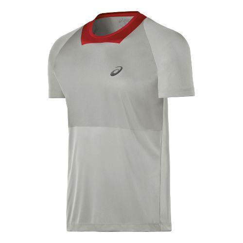 Mens ASICS Athlete Short Sleeve Technical Tops - Light Grey XL