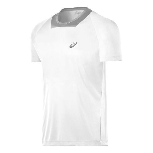 Mens ASICS Athlete Short Sleeve Technical Tops - Real White M