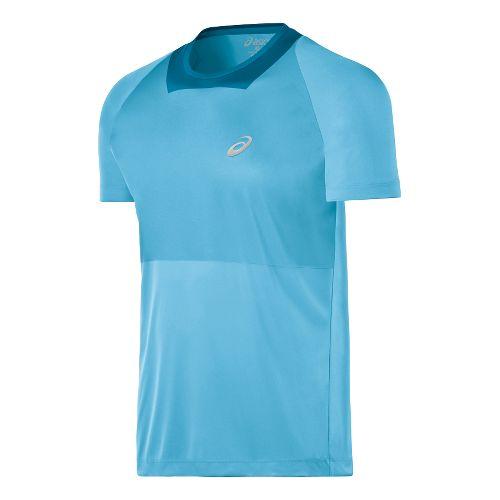 Mens ASICS Athlete Short Sleeve Technical Tops - Blue Moon L