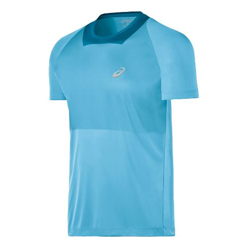 Mens ASICS Athlete Short Sleeve Technical Tops - Blue Moon XXL