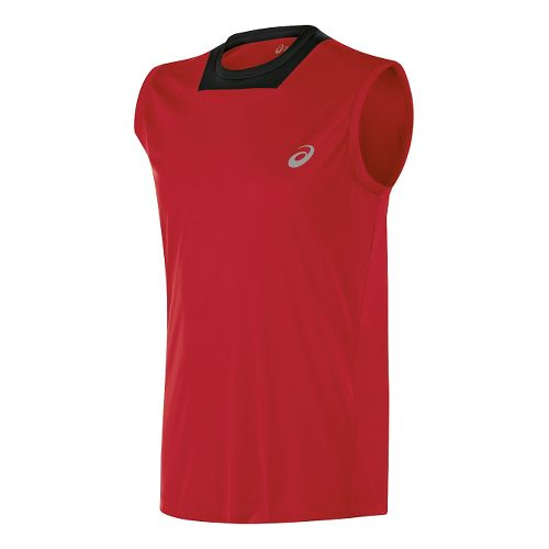 Mens ASICS Athlete Singlet Sleeveless Technical Tops - True Red L