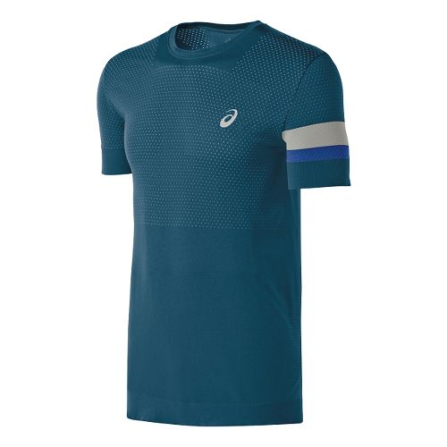 Mens ASICS Athlete Seamless Short Sleeve Technical Tops - Mosaic Blue L