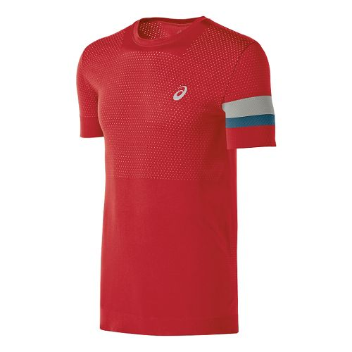 Mens ASICS Athlete Seamless Short Sleeve Technical Tops - True Red XL