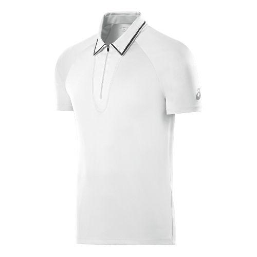 Mens ASICS Athlete Polo Short Sleeve Technical Tops - Real White M