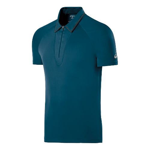 Mens ASICS Athlete Polo Short Sleeve Technical Tops - Mosaic Blue M