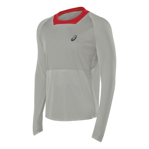 Mens ASICS Athlete Top Long Sleeve No Zip Technical Tops - Light Grey XXL