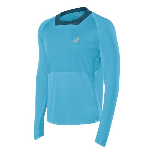 Mens ASICS Athlete Top Long Sleeve No Zip Technical Tops - Blue Moon M