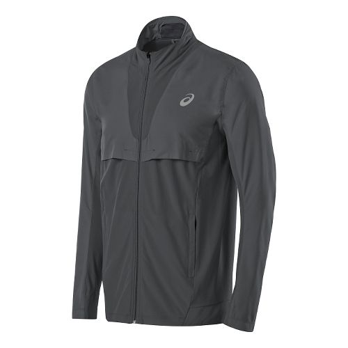 Mens ASICS Athlete Jacket Lightweight Technical Tops - Dark Grey S