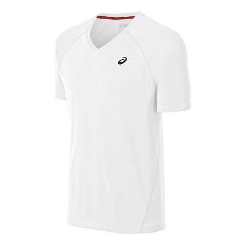 Mens ASICS Club V-Neck Tee Short Sleeve Technical Tops - Real White S