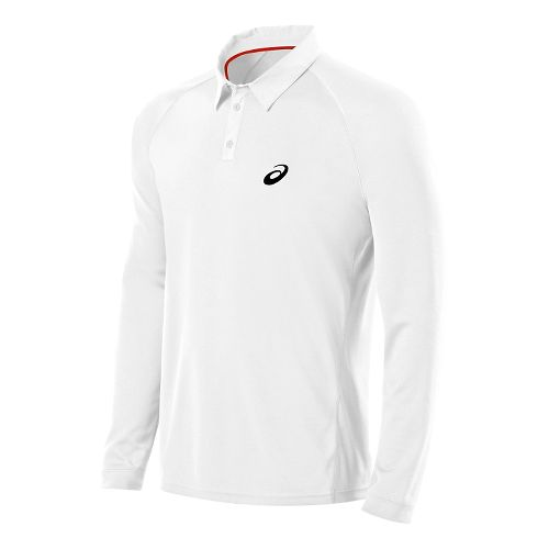 Mens ASICS Club Polo Long Sleeve No Zip Technical Tops - Real White XXL