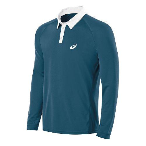 Mens ASICS Club Polo Long Sleeve No Zip Technical Tops - Mosaic Blue XXL