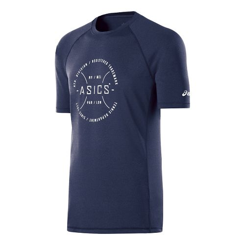 Mens ASICS Tennis Division Tee Short Sleeve Technical Tops - Indigo Blue/Frost L
