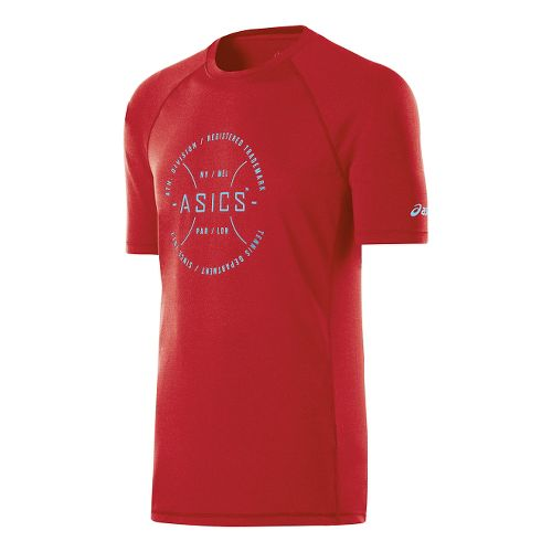 Mens ASICS Tennis Division Tee Short Sleeve Technical Tops - True Red Heather L