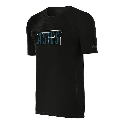 Mens ASICS Game-Set-Match Tee Short Sleeve Technical Tops - Black Heather S