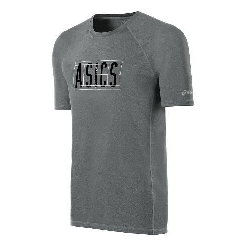 Mens ASICS Game-Set-Match Tee Short Sleeve Technical Tops - Heather Grey L