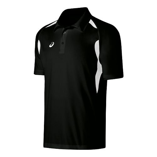 Mens ASICS Resolution Polo Short Sleeve Technical Tops - Black/White L