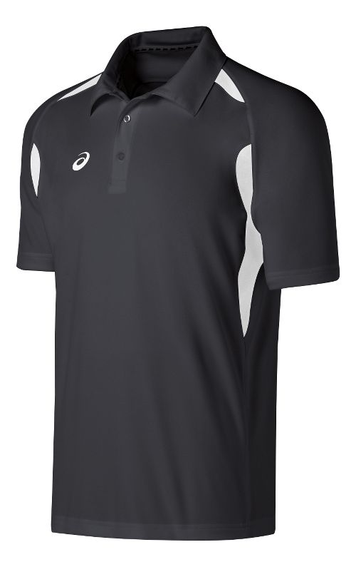 Mens ASICS Resolution Polo Short Sleeve Technical Tops - Steel Grey/White M