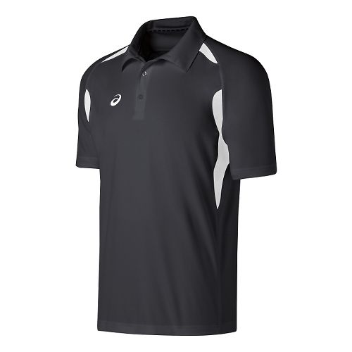Mens ASICS Resolution Polo Short Sleeve Technical Tops - Steel Grey/White S