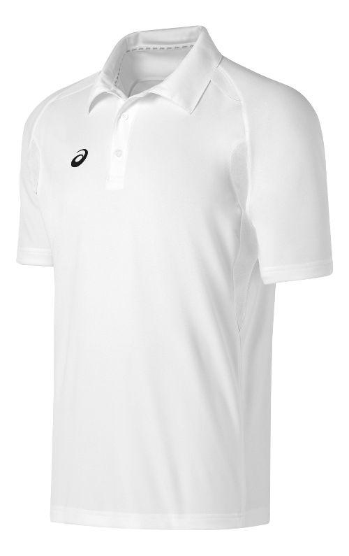 Mens ASICS Resolution Polo Short Sleeve Technical Tops - White/White L