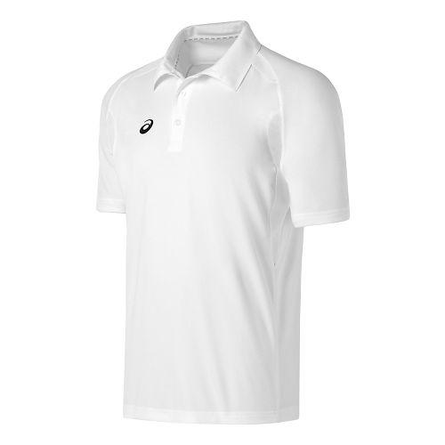 Mens ASICS Resolution Polo Short Sleeve Technical Tops - White/White S