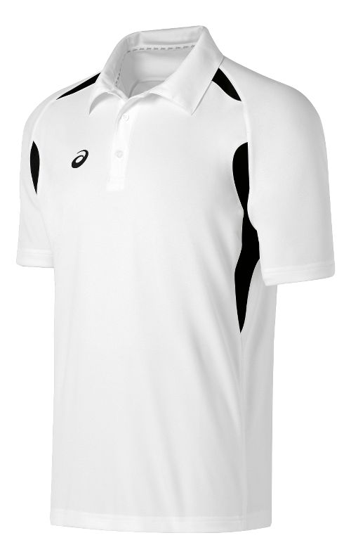 Mens ASICS Resolution Polo Short Sleeve Technical Tops - White/Black M