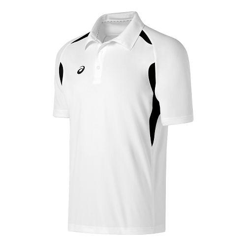 Mens ASICS Resolution Polo Short Sleeve Technical Tops - White/Black S