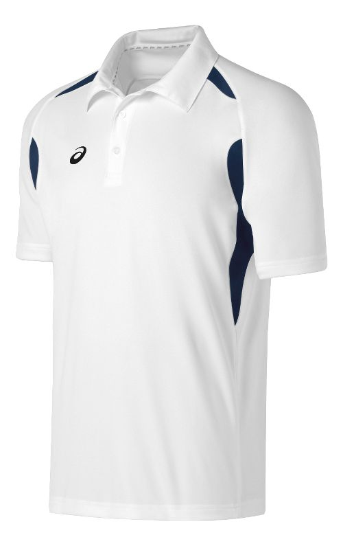 Mens ASICS Resolution Polo Short Sleeve Technical Tops - White/Navy L