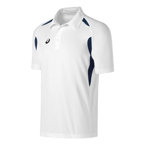 Mens ASICS Resolution Polo Short Sleeve Technical Tops - White/Navy M