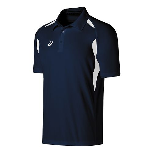 Mens ASICS Resolution Polo Short Sleeve Technical Tops - Navy/White M