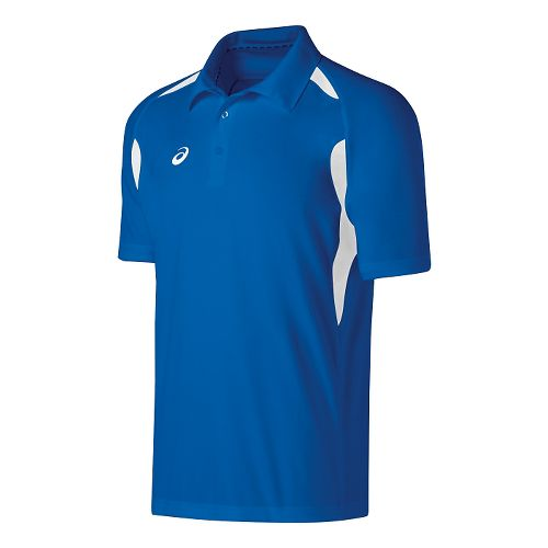 Mens ASICS Resolution Polo Short Sleeve Technical Tops - Royal/White L
