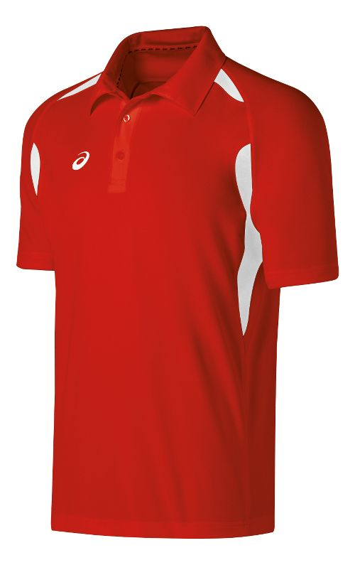 Mens ASICS Resolution Polo Short Sleeve Technical Tops - Red/White L