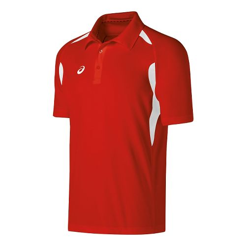 Mens ASICS Resolution Polo Short Sleeve Technical Tops - Red/White S