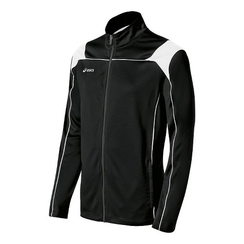 Mens ASICS Miles Warm Up Hooded Jackets - Black/White L